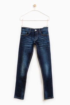 Jeans slim fit stretch effetto used, Blu scuro, hi-res