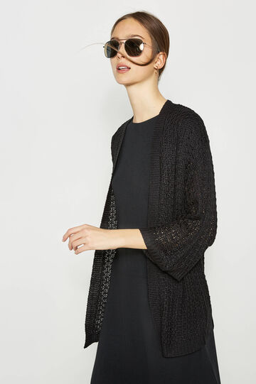 Long knitted cardigan with three-quarter sleeves, Black, hi-res