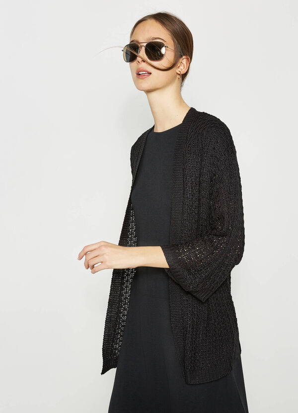 Long knitted cardigan with three-quarter sleeves | OVS