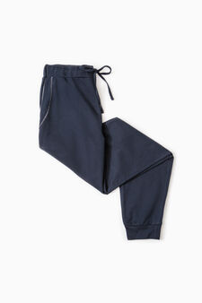 Pyjama trousers in 100% cotton, Blue, hi-res