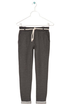 Stretch French terry trousers, Dark Grey, hi-res