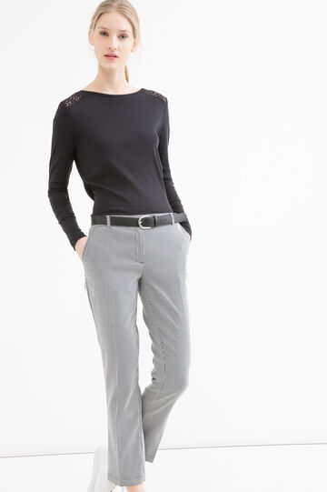 T-shirt cotone inserto traforato, Nero, hi-res