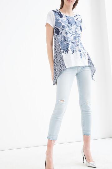 T-shirt in cotone fantasia, Bianco/Blu, hi-res