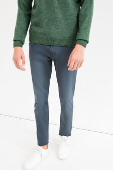 Solid colour skinny-fit trousers, Blue, hi-res