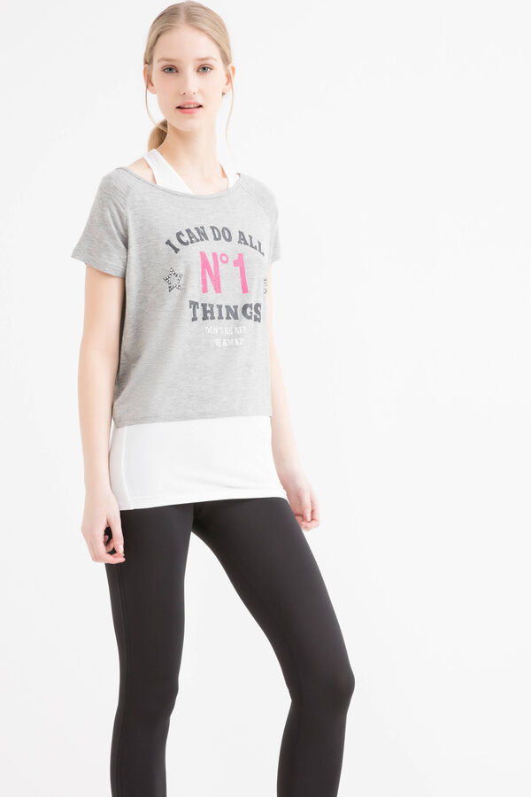 Faux layered cropped gym T-shirt | OVS