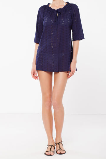 Broderie beach cover-up, Navy Blue, hi-res