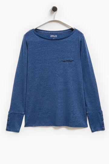 Smart Basic T-shirt with welt pocket, Blue, hi-res