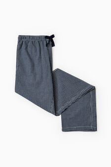 Cotton patterned pyjama trousers, White/Blue, hi-res