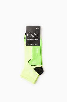 Set due paia calze stretch OVS Active Sport Training, Verde fluo, hi-res
