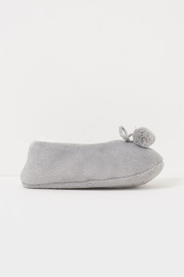 Fur slippers with pompoms, Grey, hi-res