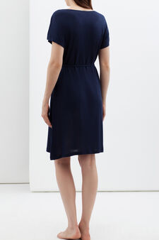 Nightshirt with slim belt., Navy Blue, hi-res