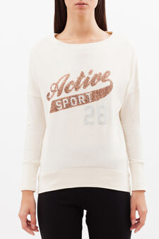 Sequinned sports T-shirt, Light Pink, hi-res