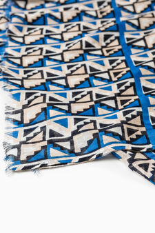 100% viscose patterned scarf, Royal Blue, hi-res