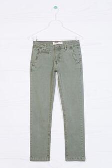 Pantaloni chino in cotone stretch, Verde, hi-res