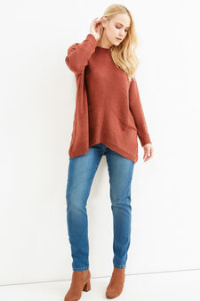 Curvy plain wool blend pullover, Orange, hi-res