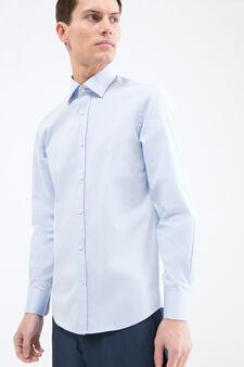 Solid colour slim fit shirt, Light Blue, hi-res