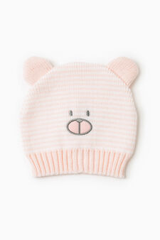 Striped beanie with embroidered bear, Pink, hi-res