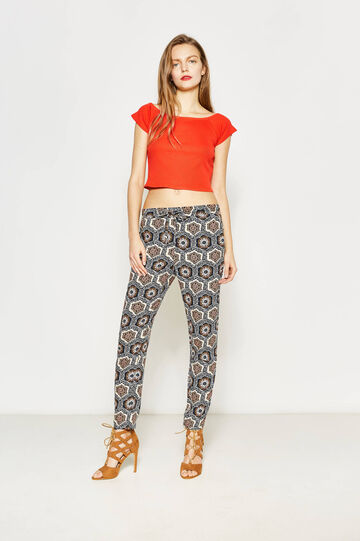 Viscose trousers with ethnic print