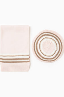Striped scarf, Pink, hi-res