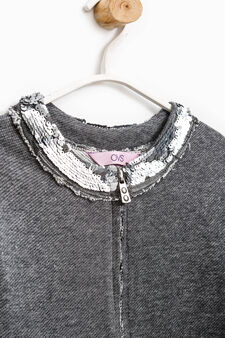 Cotton blend sweatshirt with sequins, Grey Marl, hi-res