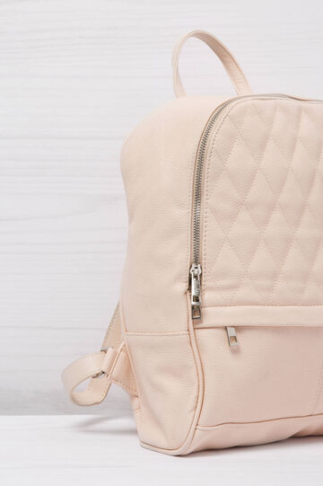 Solid colour leather look backpack, Beige, hi-res