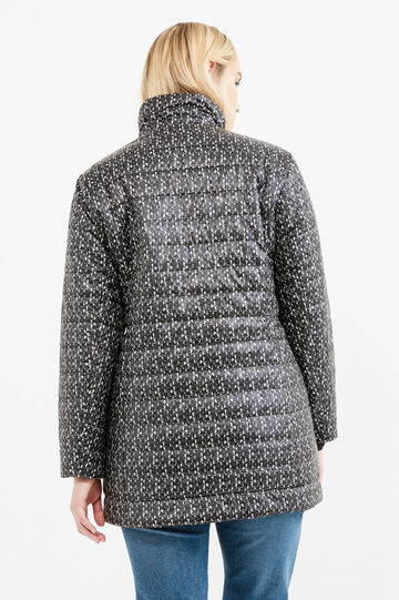 Curvy patterned down jacket with high neck, Black, hi-res