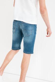 Bermuda di jeans slim fit stretch used, Lavaggio medio, hi-res