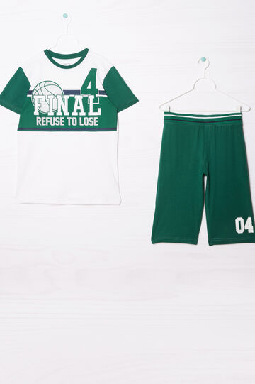 Cotton outfit with printed lettering, White/Green, hi-res