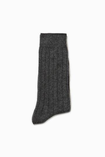Solid colour short ribbed socks, Dark Grey Marl, hi-res