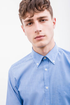 Striped slim fit formal shirt, White/Light Blue, hi-res