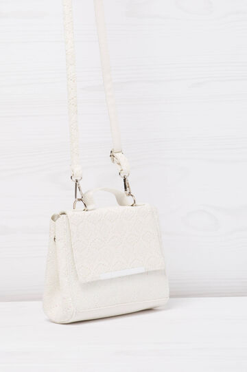Shoulder bag with glitter, White, hi-res