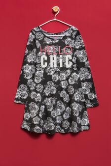 Printed dress in stretch cotton, Black, hi-res