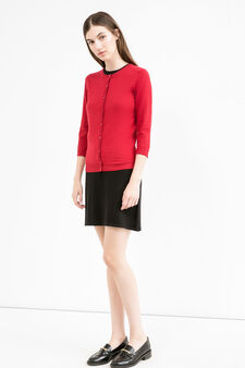 Cotton blend ribbed cardigan, Red, hi-res