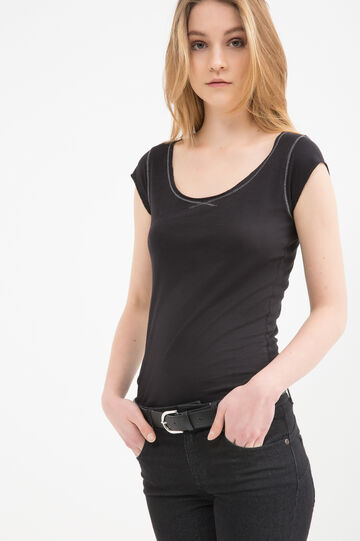 100% cotton T-shirt with raw edges, Black, hi-res