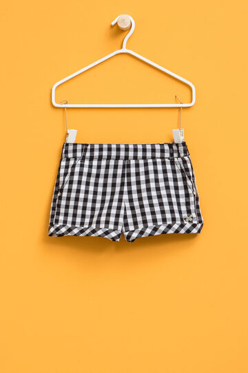 Checked shorts with butterfly patch
