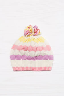 Knitted beanie cap in cotton., Multicolour, hi-res