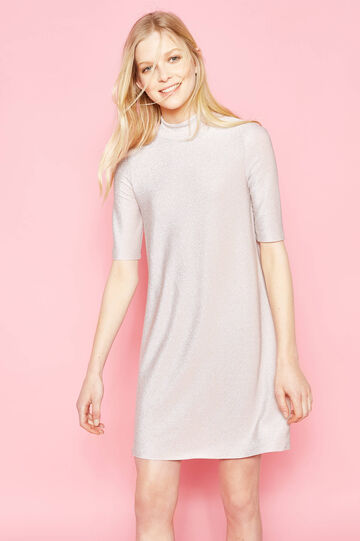 Stretch high neck dress with lurex