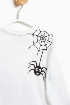 T-shirt cotone tinta unita con stampa, Bianco ottico, hi-res