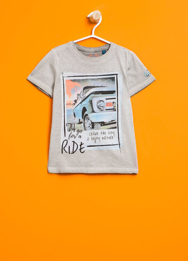 Printed cotton mis-dyed T-shirt | OVS