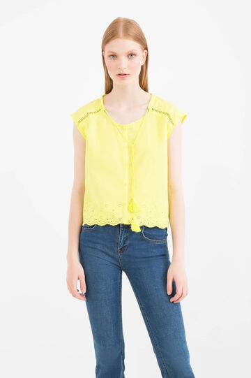 100% cotton top with embroidery, Acid Yellow, hi-res