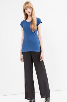 T-shirt puro cotone lavorazione costina, Blu, hi-res