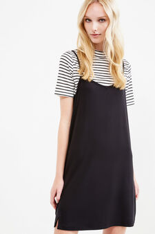 Viscose blend dress with T-shirt, Black/White, hi-res