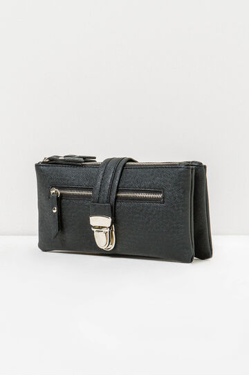Textured-effect purse with clip, Black, hi-res
