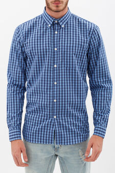 Camicia tartan button down, Nero/Blu, hi-res