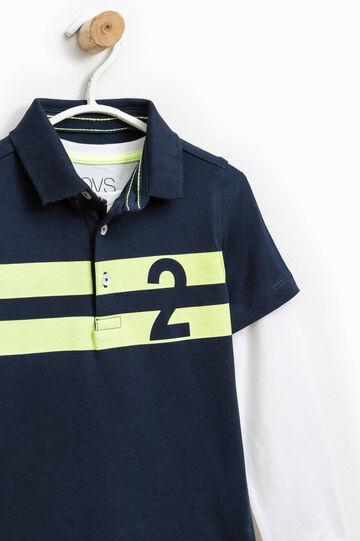 Polo con camiseta interior de manga larga, Blanco/Azul, hi-res