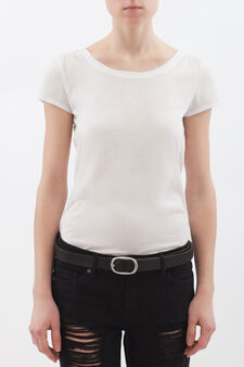 T-shirt with round neck, Milky White, hi-res