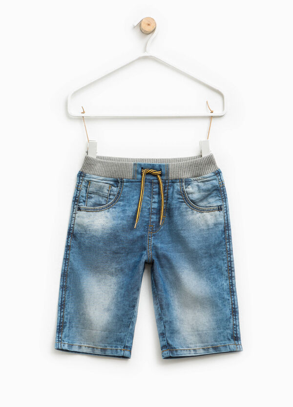 Denim Bermuda shorts with faded effect | OVS