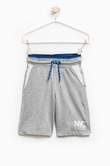 100% cotton Bermuda shorts with drawstring, Grey Marl, hi-res