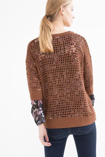 Viscose blend openwork pullover, Cognac Brown, hi-res