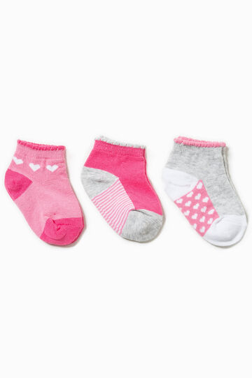 Three-pair pack striped and hearts socks